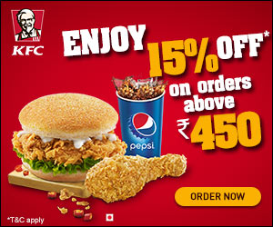 Kfc Offer enjoy 15% of on above order Rs 450