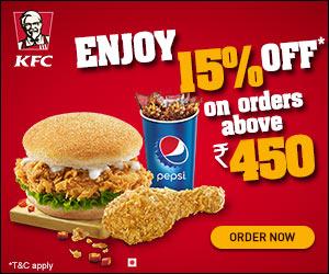 Kfc Offer enjoy 15% of on above order Rs 450